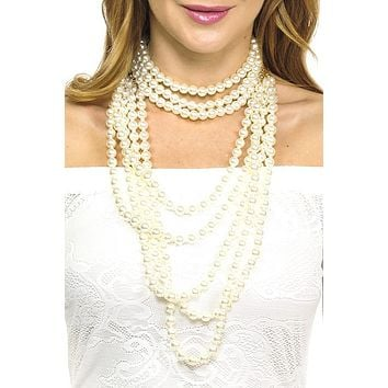 Faux pearl multi line long necklace set