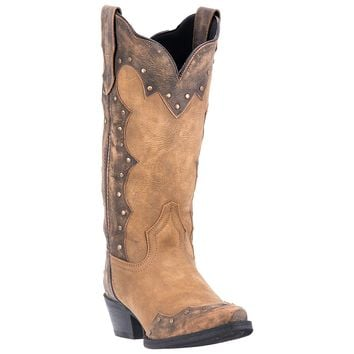 Laredo Womens Tan Cowboy Boots Leather Cowboy Boots Snip Toe