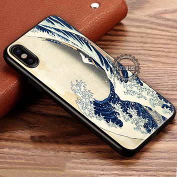 Japanese Great Wave of Kanagawa Illustration iPhone X 8 7 Plus 6s Cases Samsung Galaxy S8 Plus S7 edge NOTE 8 Covers #iphoneX #SamsungS8