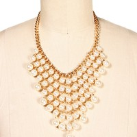Gold/Pearl Statement Necklace Set