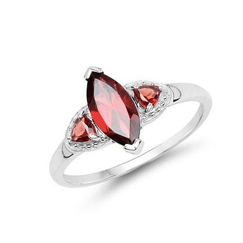 A Natural 1.20CT Marquise Cut Red Garnet Engagement Ring