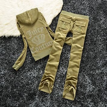 Juicy Couture Studded Logo Crown Velour Tracksuit 605 2pcs Women Suits Military