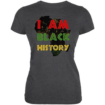 I am Black History Africa Distressed Juniors Soft T Shirt