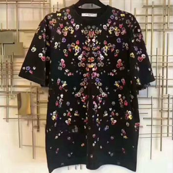 GIVENCHY Women Men Fashion Flower Sea Round Neck Tunic Shirt Top Blouse G-AGG-CZDL