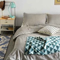 4040 Locust Contrast Stripe Duvet Cover- Blue Full/queen