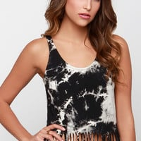 Glamorous Paint the Town Black Tie-Dye Crop Top