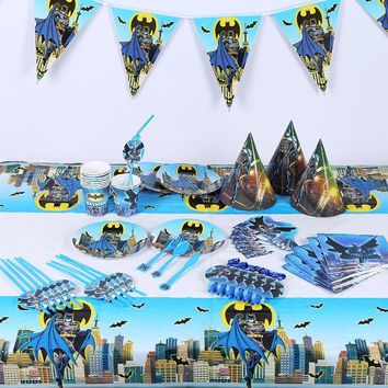 Batman Dark Knight gift Christmas 145pcs/lot Cute Batman Children Birthday Party Decorations Kids Evnent Party Supplies Birthday Tableware Sets Party Favors AT_71_6
