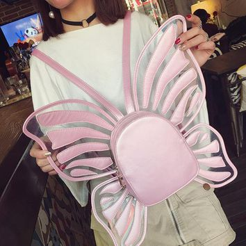 Personality fun butterfly modeling laser transparent zipper ladies backpack