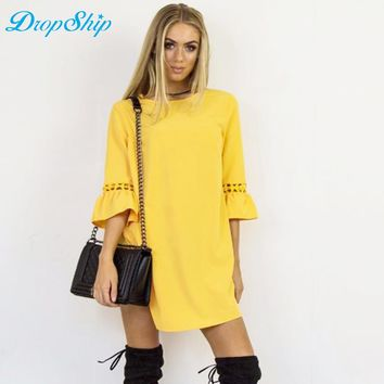 Dropship Candy Color Designer Flare Sleeve Mini Dress Women Street Fashon Lace Crochet Half Sleeve 2018 Tunic Dresses Vestidos