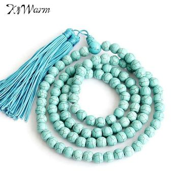108*6mm Turquoise Tibet Buddhist Meditation Prayer Beads DIY Bracelet Necklace Sweater Chain