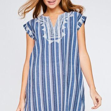 Blue Stripe Embroidery Dress