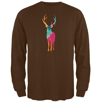 Splatter Deer Brown Adult Long Sleeve T-Shirt