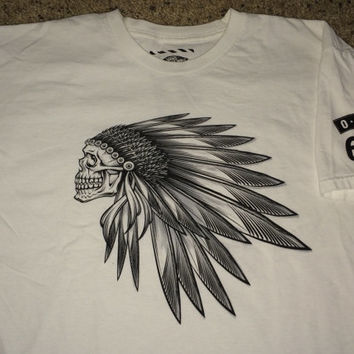 Sale!! Vintage VANS Off The Wall Indian white T-shirt Street wear tee
