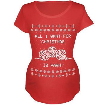 DCCKU3R I Want Yarn Knitting Ugly Christmas Sweater Maternity Soft T Shirt