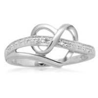 Sterling Silver Diamond Heart Ring, Size 6 (1/20 cttw)