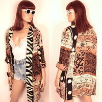 vintage tribal print jacket // oversize // cuffed sleeves