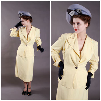 Vintage 1940s Suit - Butter Yellow Gabardine Tailored Spring Suit - Easter Parade