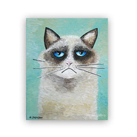 Animal Painting, Grumpy Cat Art Original Acrylic Painting on Canvas, Animal Art Children Decor 8x10x1.5