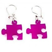 Puzzle Earrings PurplePlexiglass JewelryLasercut by bugga