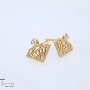 Diamond shaped gold earrings with diamond studded, Diamond silhouette earrings, Diamond shape earring, Diamond ring, Gold diamond earring