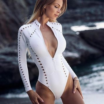 Hot Beach Swimsuit Summer New Arrival Hollow Out Long Sleeve Sexy Bikini [1901718372449]