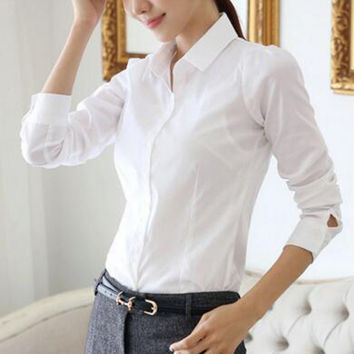 Hot Sale Casual Office Lady Women Long Sleeve White Shirts Tops Slim Solid Work Wear Cotton Blouses Fashion Clothing Gifts