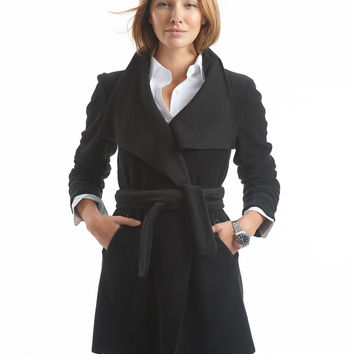 Polar Fleece Wrap Coat - black