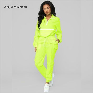 ANJAMANOR Casual Neon Tracksuit Women Two 2 Piece Set Workout Outfit Lounge Matching Sets Spring Clothes 2019 Streetwear D72AD29