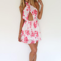 Halter Neck Floral Print  Chiffon Dress