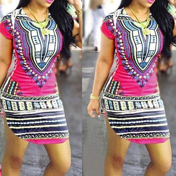 Short Sleeve Dress National Wind African Printing