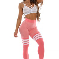 High Waist Thigh Highs - Peach