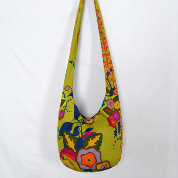 Hobo Bag, Crossbody Bag, Hippie Purse, Sling Bag, Hobo Purse, Boho Bag, Bohemian Purse, Floral Hobo Bag, Flowers, Fabric Purse