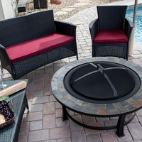 "40"" Round Wood Burning Firepit With Slate Top"