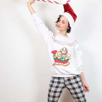 Vintage Kitten CAT Ugly Christmas Sweater White Red Tacky Christmas Sweater Puppy Dog Ugly Xmas Sweater Party Jumper Ruffle Kawaii M Medium