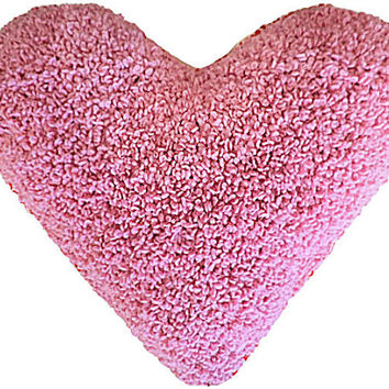 Two sided pillow, Chunky knit Pillow, Wool knit Pillow, Decorative Pillow, hand knit pillow, Heart  Furry Pillow, Valentines Day Gift