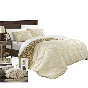Tirina Talia Pintuck 7 Piece Reversible Duvet Cover Set King & Queen Beige