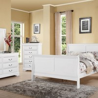 5 pc louis phillipe iii collection white finish wood queen sleigh bedroom set