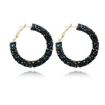 Blue Rhinestone Police Support Hoop Earrings