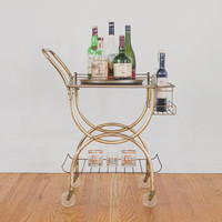 Vintage Mid Century Gold Bar Cart