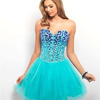 Royal & Aqua Ombre Rhinestone & Tulle Lace Up Short Prom Dress - Unique Vintage - Cocktail, Pinup, Holiday & Prom Dresses.