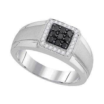 10kt White Gold Men's Round Black Color Enhanced Diamond Square Cluster Ring 3/8 Cttw - FREE Shipping (US/CAN)