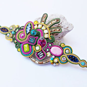 Soutache jewellery. Soutache Bracelet. Soutache handmade jawelry. Soutache handmade bracelet. Colorful statement jewelry. Gift for her.
