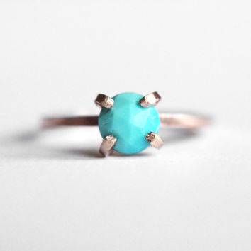 Turquoise Solitaire Ring with metal choices