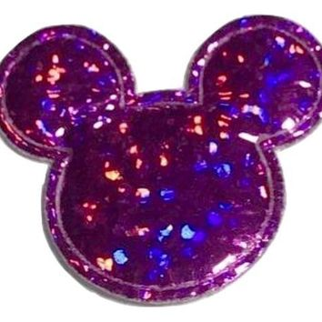 Hot pink holographic Minnie Mouse 30x25mm padded appliqué