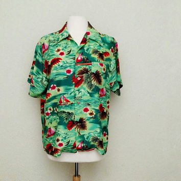 Vintage Japanese Aloha Hawaiian Shirt / Large Size / 1950s- 1960s / Short Sleeve / Pomare / Tiki / Retro Surfer Shirt / Luau / Made in Japan
