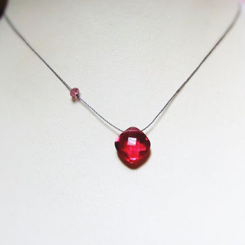 Deep Pink Rubellite Quartz Necklace, Faceted Cushion Cut, Genuine Pink Tourmaline Bead, Minimalist Necklace On Cord, Sterling Silver Clasp