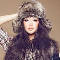 Brown Faux Fur Hat for Winter