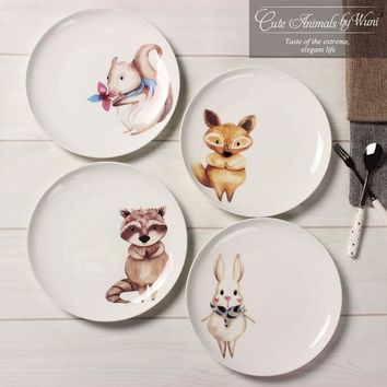 VONESC6 New arrival 8 inch porcelain dinner plates European style Bone china round cute animal character dishes free shipping