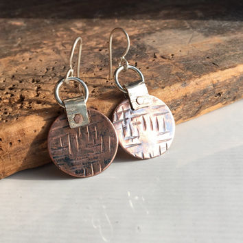 Hammered Earrings, Textured Earrings, Copper Disc Earrings, Dangle Earrings, Silver Filled, Copper, Etsy, Etsy Jewelry