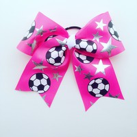 Soccer hair bow